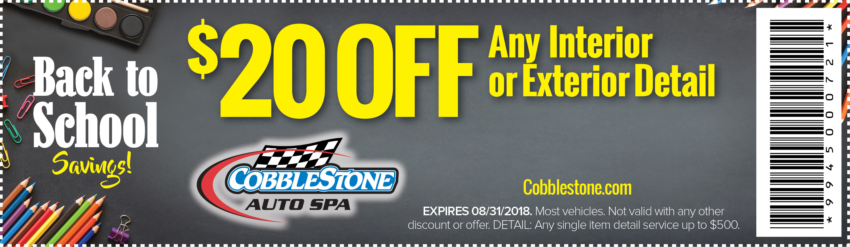 back to school coupon - save $20 off interior or exterior detail